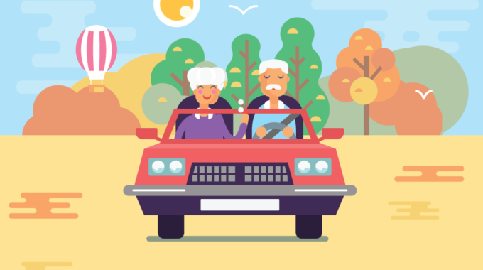 Old Couple Driving Retirement